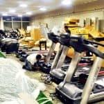 treadmills being set up
