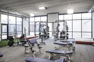Training Station heavy weights window shot