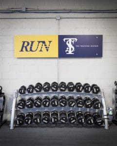 Training Station racked weights