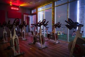 Training Station spinning with lights