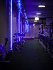 Training Station turf blue lighting