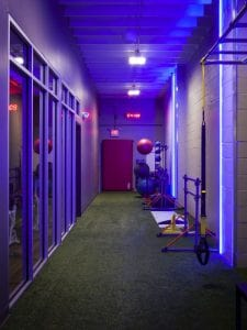 Training Station turf track blue lighting